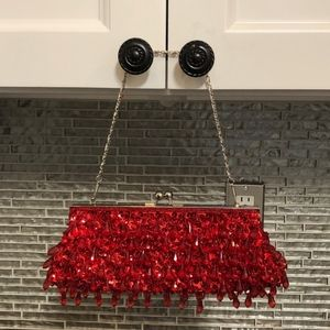 Lapis Bags - Lapis Red Beaded Clutch